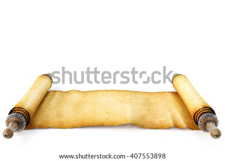 Ancient antique scroll on white background. 3D illustration