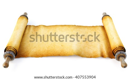 Ancient antique scroll on white background. 3D illustration - stock photo