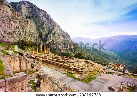 Ancient Apollo temple, Greece - stock photo