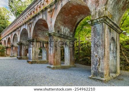 Ancient Aqueduct at Nanzen-ji Temple in Kyoto, Japan   - stock photo