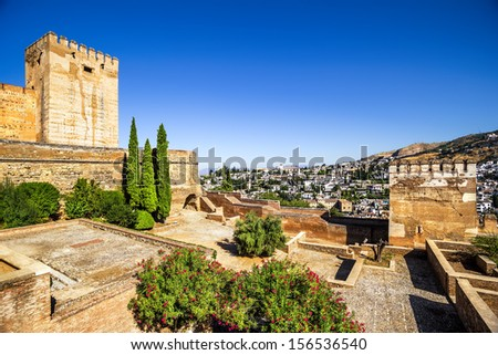 Ancient arabic fortress of Alhambra and Albaicin, Granada, Spain.  - stock photo
