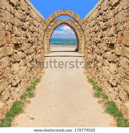 Ancient arch way to the  Mediterranean sea.Caesarea. Israel  - stock photo