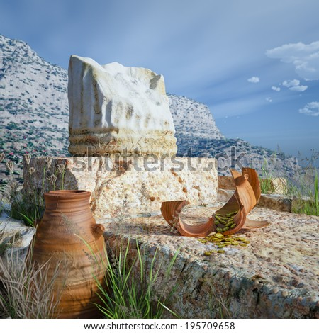 ancient architecture background with antique coins and column - stock photo
