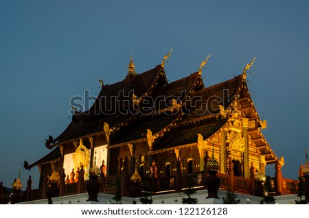 Ancient architecture in the Northern Thai style , Royal Pavilion (Ho Kum Luang) at Royal Flora Expo, Chiang Mai, Thailand - stock photo