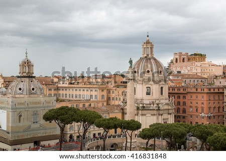 Ancient architecture in the Rome and city view