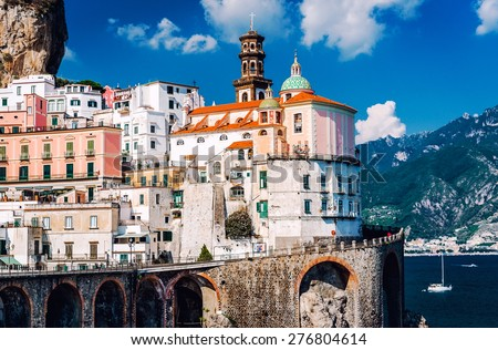 Ancient architecture of Atrani village. Amalfi Coast in the province of Salerno in the Campania region of south-western Italy - stock photo