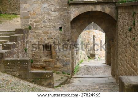 Ancient architecture of carcassonne castle - stock photo