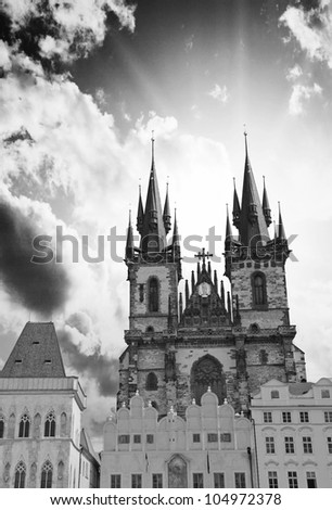 Ancient Architecture of Prague, Czech Republic - stock photo
