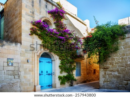 Ancient architecture of the Mdina - the ancient capital of Malta - stock photo