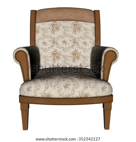 Ancient armchair isolated in white background - 3D render