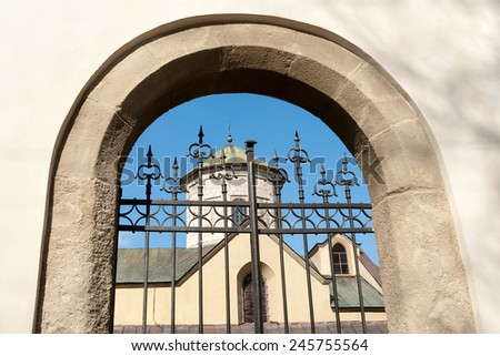 Ancient Armenian cathedral in Old Town of Lviv, Ukraine - stock photo