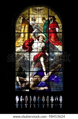 ancient art of Italy.Stained glass - stock photo