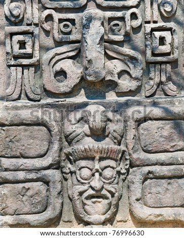 ancient aztec stone relief background - stock photo