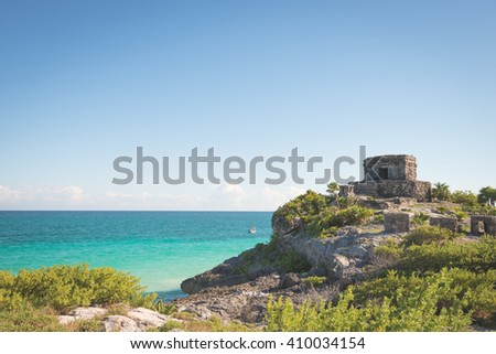 Ancient Aztec temples on the Mexican coast in Tulum - stock photo