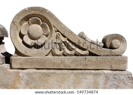 Ancient background. Isolated element of architecture. Ancient Greek style. Limestone.