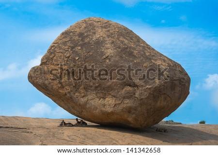 ancient Balancing Ball in Mahabalipuram, Tamil Nadu, India - stock photo