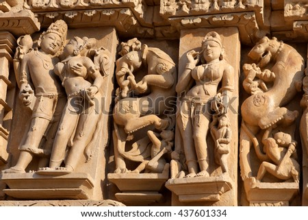 Ancient bas-relief at famous temple in Khajuraho, India. Most Khajuraho temples were built between 950 and 1050 by the Chandela dynasty.