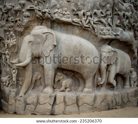 Ancient basreliefs  and statues   in Mamallapuram, Tamil Nadu, India  - stock photo