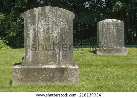 Ancient Blank Tombstones - stock photo