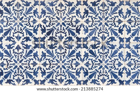 Ancient  blue and white tile work, called azulejos - stock photo