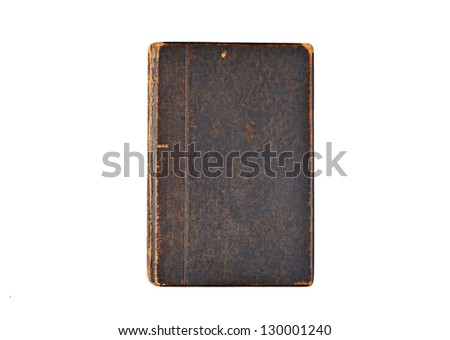 Ancient book cover, isolated on white background - stock photo