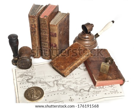 ancient books and old stamps - stock photo