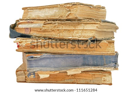 Ancient books isolated on white background - stock photo