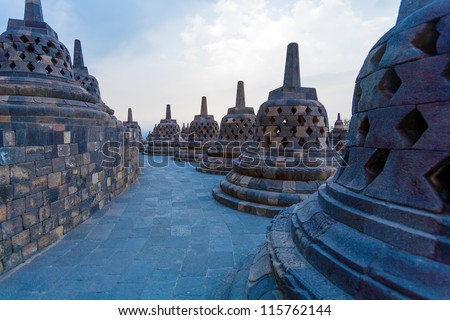 Ancient Borobudur Buddhist Temple, Java Island, Indonesia - stock photo