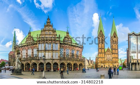 Ancient Bremen Market Square in the centre of the Hanseatic City of Bremen with view on famous Church of Our Lady, town hall, St. Petri Dom zu Bremen and parliament building, Germany - stock photo
