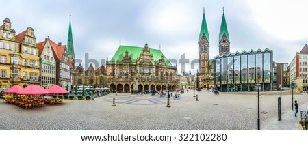 Ancient Bremen Market Square in the centre of the Hanseatic City of Bremen with view on famous Raths-Buildings, Church of Our Lady, town hall, St. Petri Dom zu Bremen and parliament building, Germany - stock photo