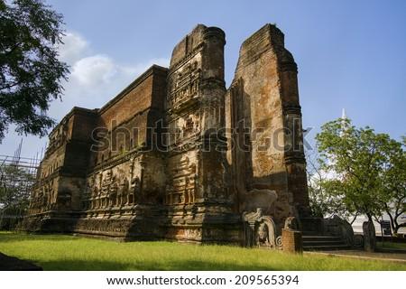 Ancient brick construction temple in Polonnaruwa , Sri lanka - stock photo