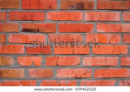 ancient brick wall close-up photo - stock photo