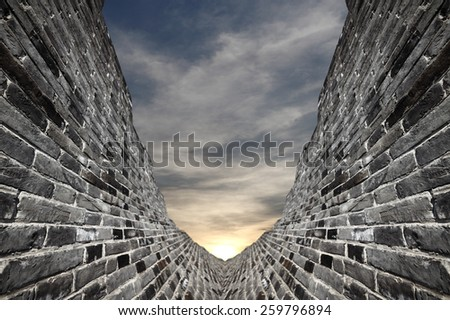 Ancient brick walls valley gateway to a surreal dreamy realm.  - stock photo