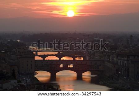 Ancient bridge Ponte Vecchio in Florence. Italy. - stock photo