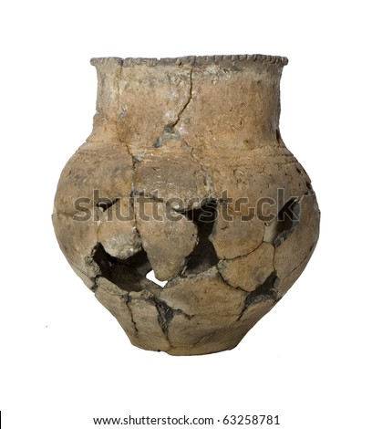 Ancient broken pot isolated over white - stock photo
