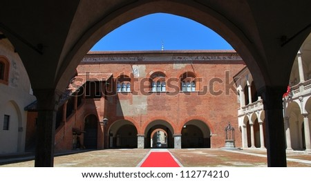 Ancient Broletto palace and courtyard, Novara, Piedmont, Italy