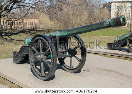 Ancient bronze Polish-The Grand Duchy of Lithuania cannon cast in 1559 on a wheel gun carriage - stock photo