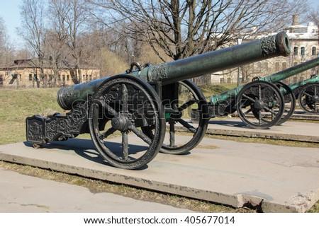 Ancient bronze sweden cannon 1559 on a wheel gun carriage - stock photo