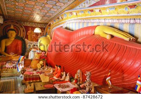 Ancient Buddha image in annaradapura Temple caves, Sri Lanka - stock photo