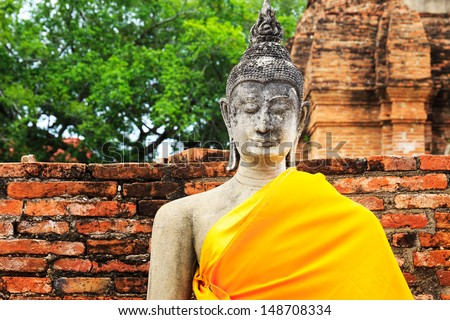 Ancient Buddha in Ayuthaya, Thailand - stock photo
