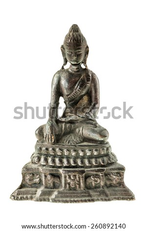 ancient buddha metal statuette isolated over a white background - stock photo
