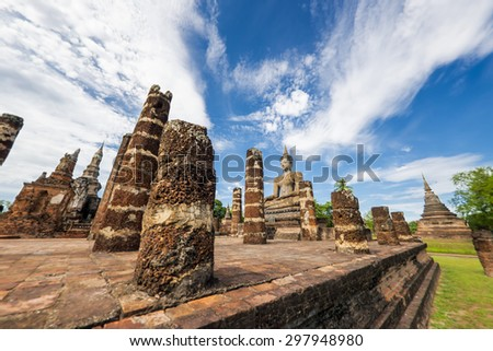 Ancient Buddha Statue at Sukhothai historical park, Mahathat Temple ,Thailand. - stock photo