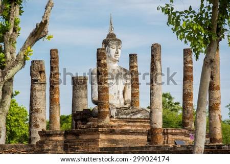 Ancient Buddha Statue at Sukhothai historical park, Mahathat Temple ,Thailand. - stock photo