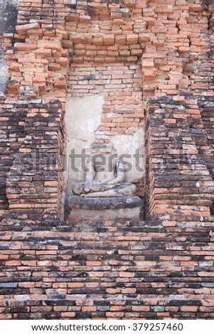 Ancient buddha statue at thailand - stock photo