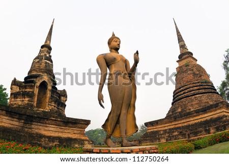 Ancient buddha statue. Sukhothai Historical Park, Sukhothai Province, Thailand. - stock photo