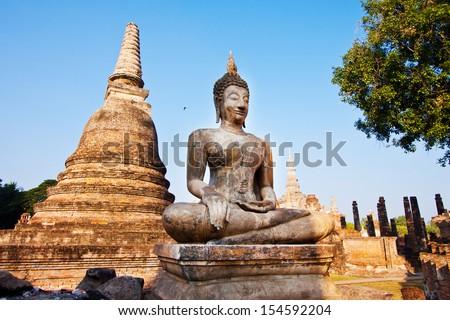 Ancient buddha statue. Sukhothai Historical Park, Sukhothai Province, Thailand - stock photo