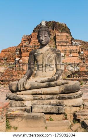 Ancient Buddha, Temple Wat Chaiwatthanaram at Ayutthaya Thailand - stock photo