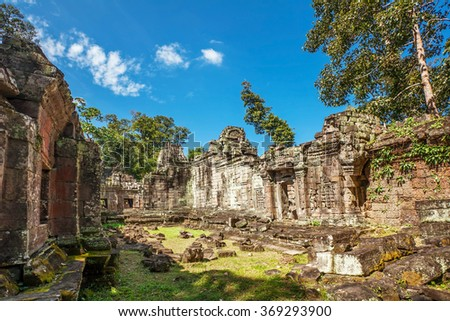Ancient buddhist khmer temple in Angkor Wat complex, Cambodia - stock photo
