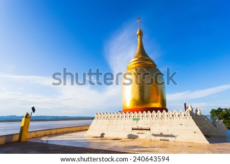 Ancient Buddhist stupa at Buphaya Pagoda in Bagan, Myanmar. - stock photo