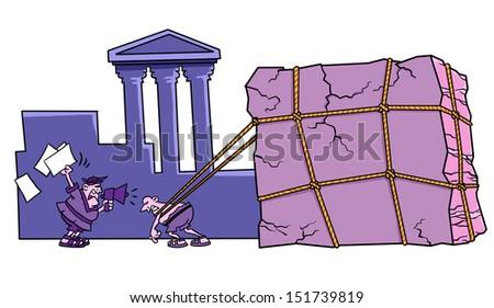 House Construction Clip Art : Ancient building construction stock illustration